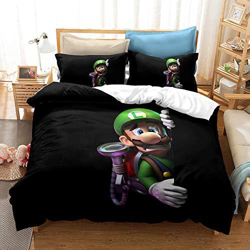 RITIOA Juego de ropa de cama con impresión 3D de Super Mario 3D, funda nórdica de microfibra, con cremallera y funda de almohada, A12, 135 x 200 cm, 3 piezas