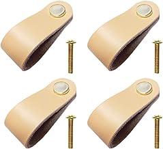 color amarillo claro mediano Botones de armario de cocina con tornillos largo x ancho x alto 4 unidades 6,9 x 2,0 x 0,8 cm Jurxy Tirador de puerta de piel con un solo agujero para puerta