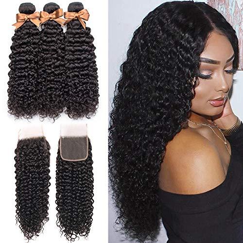ALLRUN Kinky Curly Weave Bundles with Closure 10A Brazilian Human Hair Curly Virgin Hair Weave 3 Bundles with 4X4 Lace Closure with Baby Hair Natural Color (10 12 14+10closure)