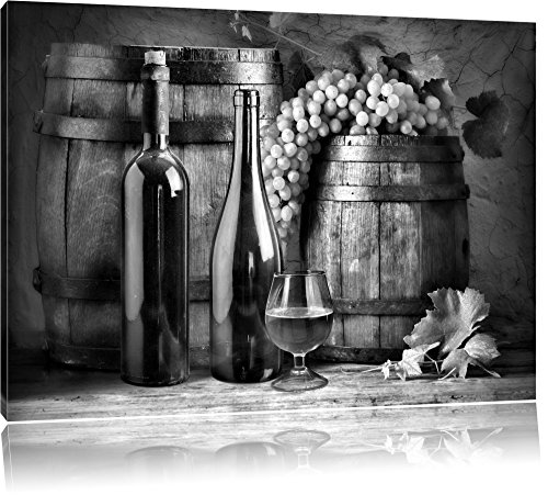 Vaten met druiven en wijnFoto Canvas | Maat: 60x40 cm | Wanddecoraties | Kunstdruk | Volledig gemonteerd