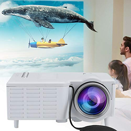 Jumpp LED Projector 1080P Mini Home Theater Cinema Portable Video Multimedia Compatible with TV Stick/HDMI/VGA/USB/TV Box/Laptop/DVD/PS4 for Home Entertainment (White, One Size)