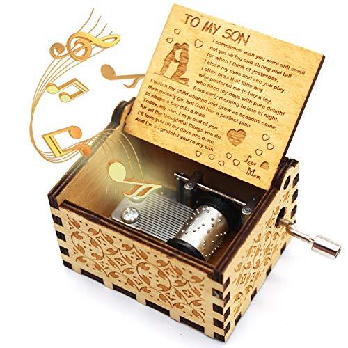 ukebobo - Caja de música de madera con texto 'You are My Sunshine' de mamá a hijo, regalo de música único para niños - 1 juego