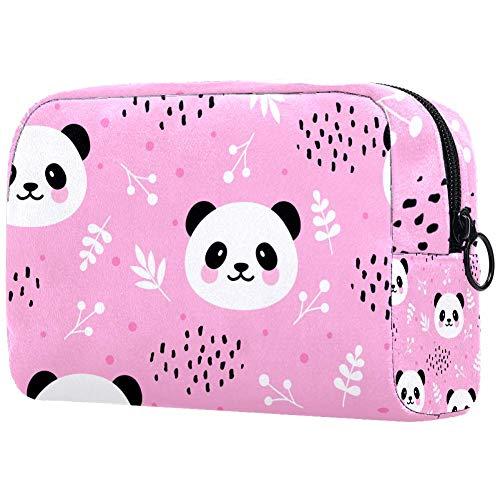 Trousse de toilette portable pour femme personnalisable avec sac à main pour cosmétiques et voyage Panda et rose
