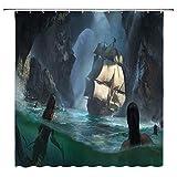 JOOCAR Design Duschvorhang, Pirat Meerjungfrau Canyon Segeln Fantasie Navigation Kreativ 3D Schwarz Wasserdicht Tuch Stoff Badezimmer Dekor Set mit Haken