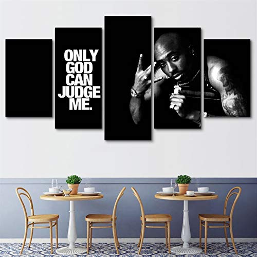 HXLFYM Wandkunst Leinwand, Moderne Hauptdekoration 5 Stück Tupac Amaru Shakur Rapper Leinwand Kunstdruck Poster Bild Modular Wandgemälde Kunst (Color : Canvas, Size (Inch) : 40x60 40x80 40x100cm)