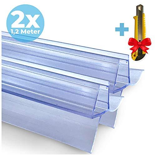 2x Guarnizione Doccia Sottoporta in gomma + Taglierino GRATUITO | 2x120 cm | 2 Guarnizioni ricambio anti spruzzo per porta doccia | 6/7/8 mm di spessore | Idrorepellente