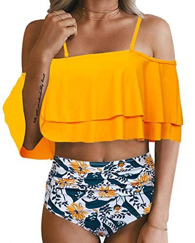 Tempt Me Women Yellow Two Piece Swimsuit High Waisted Bikini Off Shoulder Ruffle Bathing Suits M