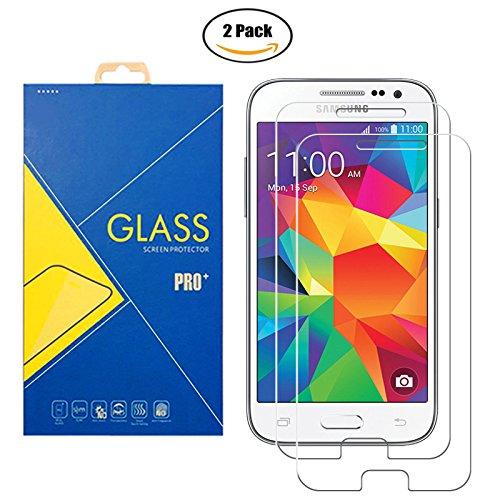 2 protectores de cristal templado para Samsung Galaxy Core Prime SM-G360 / G360F / G360H / G361 / G361F / G3608 / G3609 / 360 / 361 / 3608 / 3609–Pantalla a prueba de golpes y arañazos.