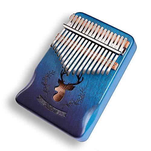 Molioon 17 Keys Kalimba Mahogany Body Thumb Piano solid wood mbira keyboard instrument (Blue-Deer-Pro)