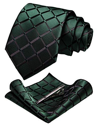 JEMYGINS Cravate vert foncé Carreaux Homme en Soie et Pinces à cravate Carre de poche Set(6)