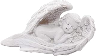 Sleeping Baby Angel Statue Cherub in Wings Feathers Statue Figurine Indoor Outdoor Guardian Home Garden Angel Sculpture St...