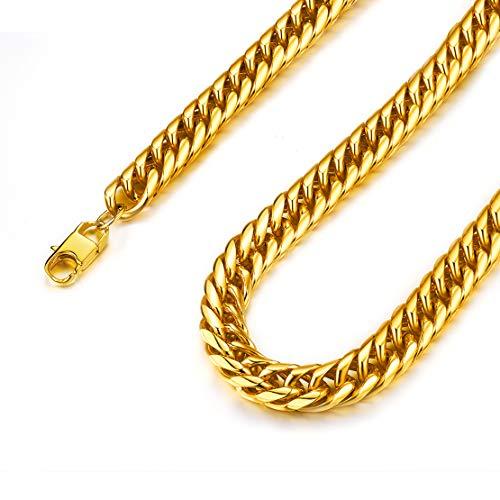 FindChic Miami Franco Cuban Link Chain Curb Necklace Mens 6MM 51CM Chunky Gold Plated Jewellery Chain Catena ipoallergenica Acciaio inossidabile Hip Hop Catena da uomo Link cubano da uomo