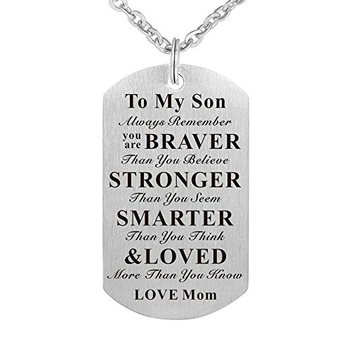 To My Son Always Remember You are Braver than You Believe Birthday Gift Jewelry Dog Tag Keychain Pendant Necklace From Mom Mother