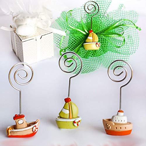 Memoclip/portafoto in resina tema mare a forma di barchette in 3 modelli differenti in tonalità di verde e arancione - Bomboniere nascita,battesimo,comunione,cresima,compleanno,feste (kit 48 pz)