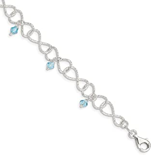 925 Sterling Silver Textured Blue Aquamarine Colored Glass Bead Bracelet 7.5 Inch Fancy Fine Jewelry For Women