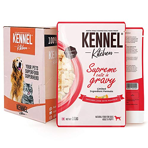 Kennel Kitchen Supreme Cuts in Gravy, Chicken Liver with Pumpkin, 100g (Pack of 12). Wet Dog Food for Adult and Puppy