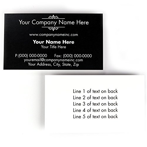 Buttonsmith Custom Black Deco Premium Printed Business Cards - 3.5'x2' - Quantity 500 - Double-Sided, 110 lb Smooth Touch - Black Deco - Made in The USA