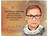 Ruth Bader Ginsberg Quote Wall Art, Fight For The Things That You Care About 10x8 inch Unframed Print with RBG Watercolor Image, Ideal Feminist, Library, Classroom Art