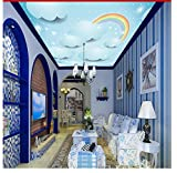 3D Deckengemälde Cartoon Fototapeten Blauer Himmel Weiße Wolken Regenbogen Wandgemälde Wohnkultur Kinderzimmer Kinder Tapeten-400X280cm