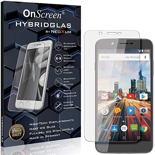 OnScreen Schutzfolie Panzerglas kompatibel mit Archos 55 Helium Ultra Panzer-Glas-Folie = biegsames HYBRIDGLAS, Bildschirmschutzfolie, splitterfrei, MATT, Anti-Reflex - entspiegelnd