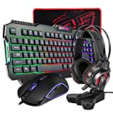 All-in-One PC Gaming Set, Rainbow Backlit 104 Keys Keyboard USB Wired 4800DPI Macro RGB Programmable Mouse 50mm Speaker Driver Stereo Headphone Sturdy Headset Stand Rubber Base Mousepad Combo (P51)