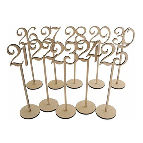 Pixnor Número de madera de mesa de boda palos con Base de 8 x 35cm 21-30