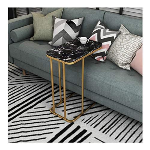 Tables de Dos de canapé d'appoint de Salon Rectangulaires,Canapé Table de Chevet, Marbre Moderne/Décor Iron Art de Fer, pour Chambre à Coucher,50cmx30cmx58cm