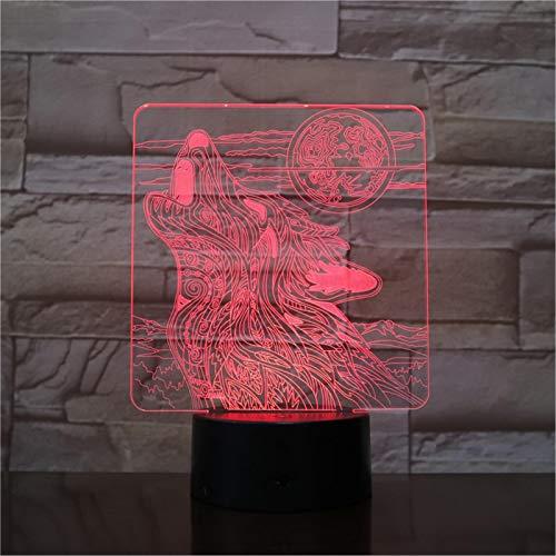 LBJZD nachtlicht Wolf Roaring Moon 3D-Lampe Nachtlicht Usb Batteriebetriebene Led-Nachtlichtlampe Visuelles Lichteffektgeschenk Für Teenager Mit Fernbedienung