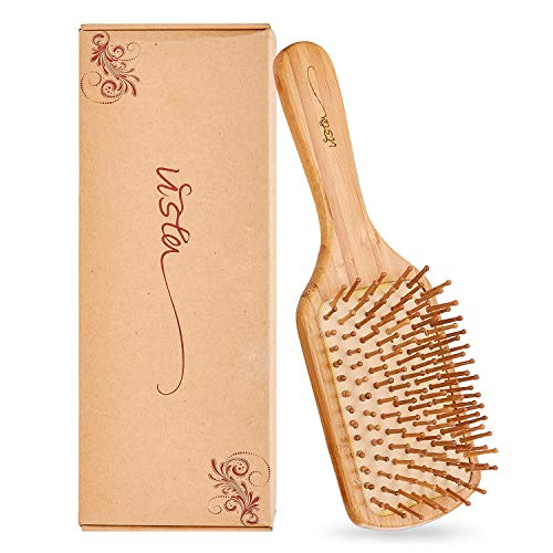 Haarbürste Holz Antistatische Paddelbürste Haarbürste Herren Bambusgriff mit Abgerundeten Holzborsten Haarbürste für Extensions für Frauen Männer und Kinder Eduzieren Frizz Massage Kopfhaut - Platz