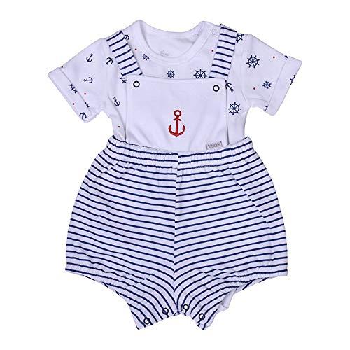 Kitikate Baby Anzug Set Marine SALOPET 2er Set Frühling Sommer Body und Latzhose Bodyform im Marine Baby Outfit Look von Größe 56 – 74 (62/3-6 M)