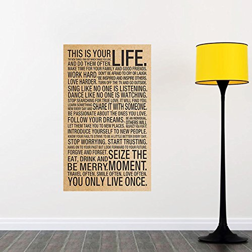 This Is Your Life Sayings Motto Quote Silk Poster Art Wall Decor Large Wall Stickers 43X72Cm