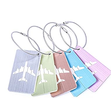 Travel Luggage Tags Personalized Key Chain Ring Set for Women 5 Pack Aircraft