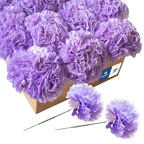 Royal Imports Artificial Carnations, Silk Faux Flowers, for Funeral Arrangements, Wedding Bouquets, Cemetery Wreaths, DIY Crafts - 100 Single 5' Stems - Lavender