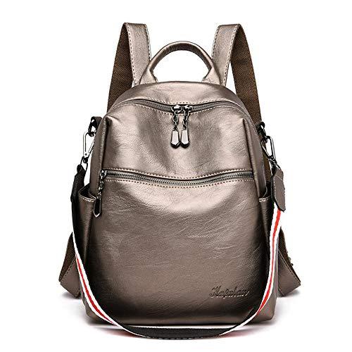Unbekannt Rucksack weiblich neue wilde lässig multifunktionale Schultasche aus weichem Leder Mode Damen Reiserucksack bronze