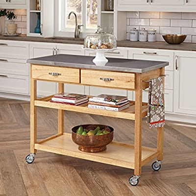 Home Styles Natural Designer Utility Kitchen Cart with Stainless Steel Top, Two Utility Drawers, Adjustable Shelf and Industrial Casters, Optional Wine Storage by Home Styles