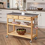 Home Styles Natural Designer Utility Kitchen Cart with Stainless...