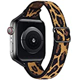 VISOOM Stretchy Slim Solo Loop Bands Compatible with Apple Watch Series 6 42mm 44mm band -Thin Women Elastics Nylon Replacement Wristband for iWatch Strap Series 6/SE/5/4/3/2/1 Accessories