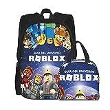 Mochila escolar de 2 piezas, incluye bolsa de almuerzo – Dab_Bing Rob_Lox Unisex mochila escolar para adolescentes bolsas escolares con bolsa de almuerzo aislada, Negro, Talla única