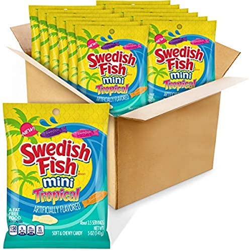 Swedish Fish Mini Tropical Fat Free Candy 5 Ounce Bag Pack of 12 product image
