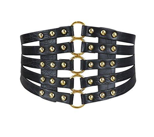 Oyccen Retro Hueco Cinturón Ancho Elástica Vestido Decoración Faja Cinturones Corsé
