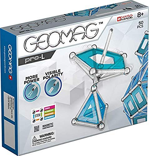 GEOMAG Magnetic Toys | Educational Kids Magnets | STEM Building | Pro-L Kit Magnetic Construction & Engineering System | Swiss-made | 50 Piece | Age 8+