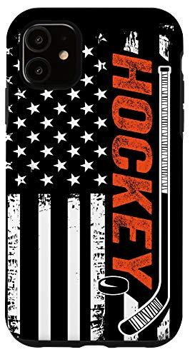 iPhone 11 Distressed USA American Flag Patriotic Hockey Phone Case