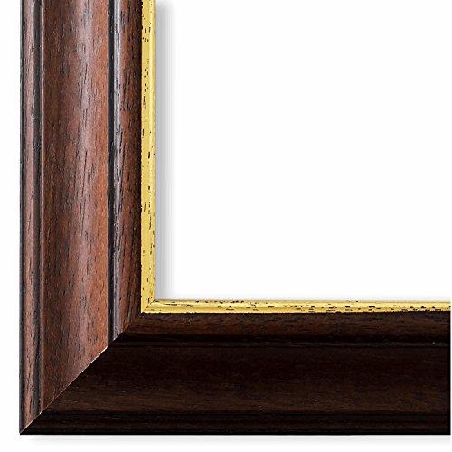 Online Galerie Bingold - Cornice per Foto Genua, 4,3 cm, Colore: Marrone/Oro, Legno, Marrone, 105 x 140 cm mit Museumsglas
