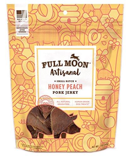 Full Moon Artisanal All Natural Human Grade Jerky Dog Treats, Honey Peach Pork, 12 Ounce