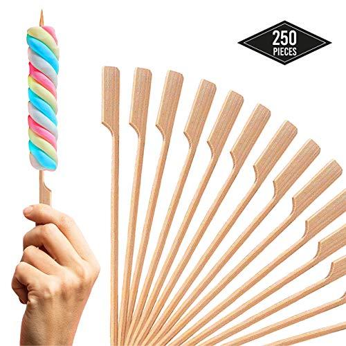 250 Holzspiesse, Fingerfood Spiesse, 18cm - Naturholzspieße 100% Bambus - Perfekt für Sommer Grillen, Grill/Schachlik, Pfanne, Cocktail, Fleisch Früchte Burger Parteien - Robust & Stabil