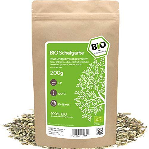 amapodo - Schafgarbe Tee Bio 200g - Schafgarbenkraut - Schafgarbentee - Schafgarben zur Zubereitung von Tee - Kräutertee - achillea millefolium - kleine Geschenke für Frauen & Männer