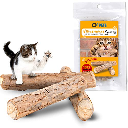 O³ Pets Katzenminze Stick // 8 XXL Katzensticks aus Matatabi Holz // Katzenspielzeug zur Beschäftigung und Zahnpflege // Katzenleckerli zur Belohnung // Catnip