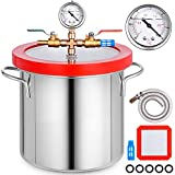 Bestauto 2 Gallon Vacuum Chamber kit Stainless Steel Degassing Chamber 7.5L Vacuum Degassing Chamber kit for Degassing Urethanes Silicones Epoxies and Resins