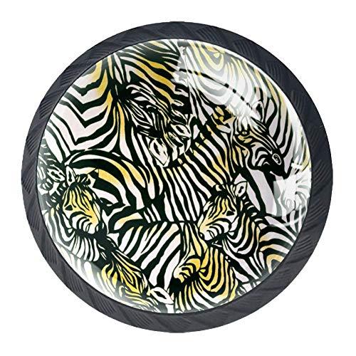 TIZORAX Schubladenknöpfe, Zebra-Herde, gelb, schwarz, weiß, rund, Küchenschrankgriff, 4 Packungen für Schränke, Kommoden, Türen, Heimdekoration