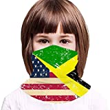 USA and Jamaican Retro Flag Kids Neck Gaiter,Windproof Dustproof Face Scarf for Camping 13.8x7.9 in